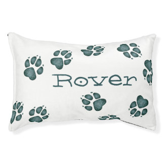 Doggie Paw Prints Blue-Green Splotches-Dog Bed 5 Small Dog Bed