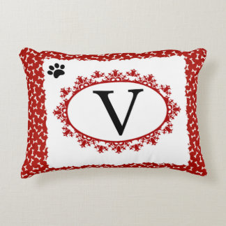 Doggy Monogram V Decorative Pillow