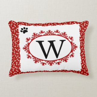 Doggy Monogram W Accent Pillow