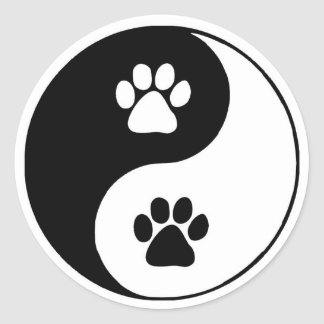 Doggy Paws Yin Yang Symbol Round Sticker