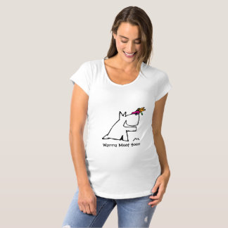 Doggy with Dragonfly Maternity T-Shirt