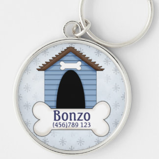 Doghouse in Blue Dog ID Tag Keychain