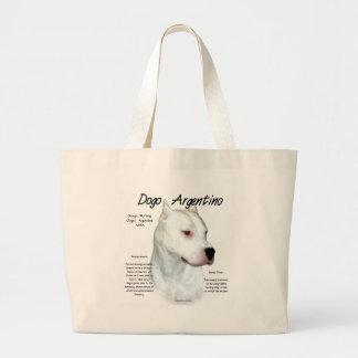 Dogo Argentino History Design Large Tote Bag