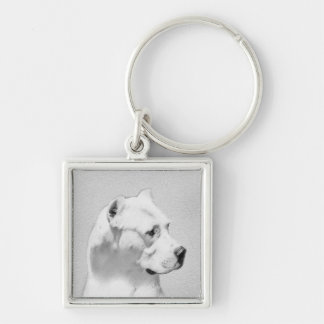 Dogo Argentino Painting - Original Dog Art Keychain