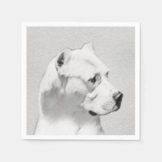 Dogo Argentino Painting - Original Dog Art Paper Napkin