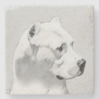 Dogo Argentino Painting - Original Dog Art Stone Coaster
