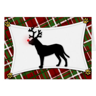 Dogo Argentino Reindeer Christmas Card
