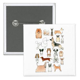 Dogs 2 Inch Square Button