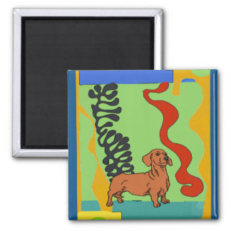 Dogs, Abstract Dachshund, add text Magnet
