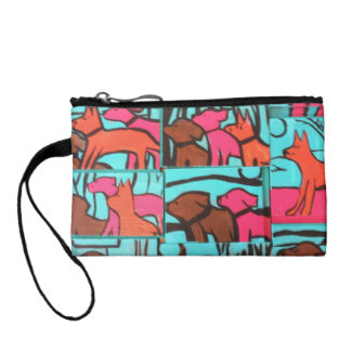 Dogs and Cats Painting Change Purses
