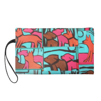 Dogs and Cats Painting Wristlet