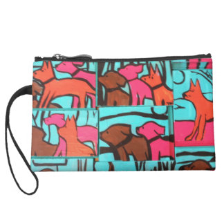 Dogs and Cats Painting Wristlet Clutch