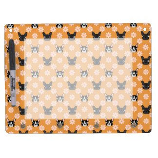 Dogs and Flowers Gold Dry Erase Board With Keychain Holder
