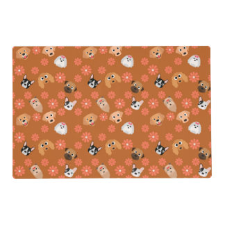 Dogs and Flowers Rust Laminated Placemat