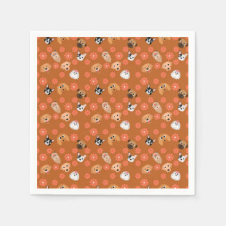 Dogs and Flowers Rust Paper Napkins