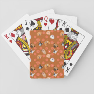 Dogs and Flowers Rust Playing Cards