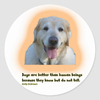 Dogs are better than human beings classic round sticker