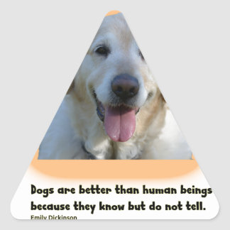 Dogs are better than human beings triangle sticker