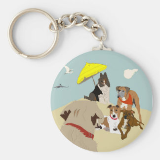 Dogs at the Beach Keychain