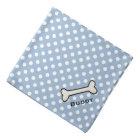 Dog's Blue and White Polka Dot Custom Bandana