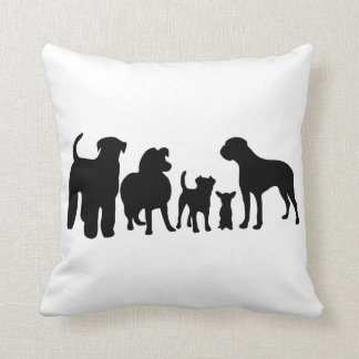 Dogs breed group black silhouette cushion, pillow