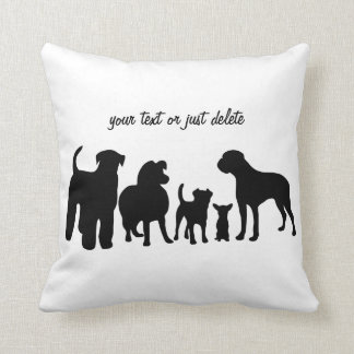 Dogs breed group black silhouette custom pillow