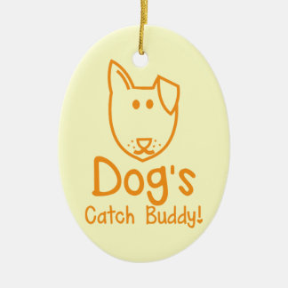 Dog's CATCH Buddy Double-Sided Oval Ceramic Christmas Ornament
