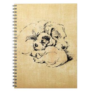 Dogs Cuddly Pets, Beige Orange Texture Look Notebooks