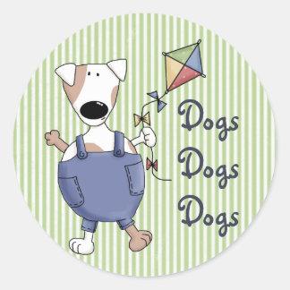 Dogs Dogs Dogs Cute Cartoon Classic Round Sticker