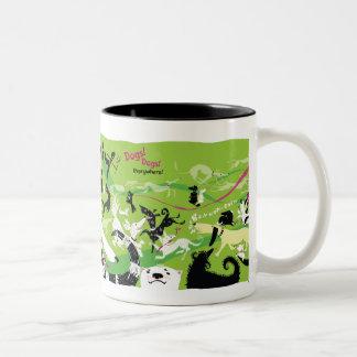 Dogs, Dogs, Everywhere! Two-Tone Coffee Mug