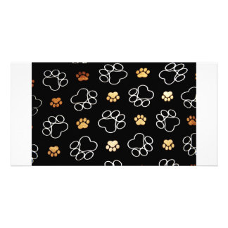 Dogs footsteps patterns custom photo card