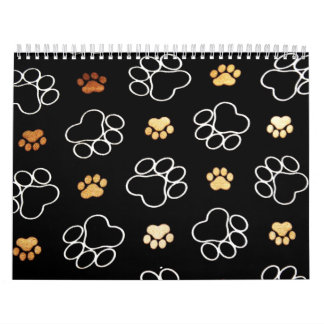 Dogs footsteps patterns wall calendars