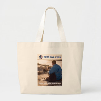 Dogs give the best hugs. large tote bag