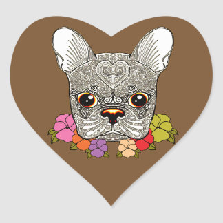 Dog's Head Heart Sticker