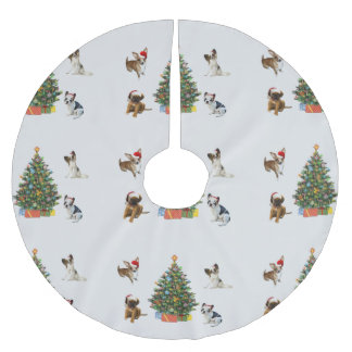 Dogs In Santa Hats Brushed Polyester Tree Skirt