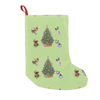 Dogs In Santa Hats Small Christmas Stocking