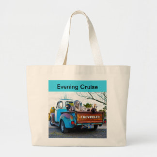 Dogs in the back of 1955 Chev Large Tote Bag