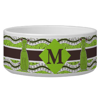 Dog's Monogram in Green and Brown Waves Dog Bowl