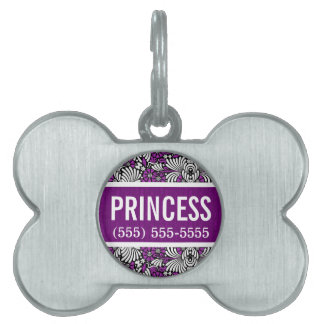 Dog's Name and Phone in Purple and White Pet ID Tag