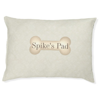 Dog's Name on a Dog Bone with Elegant Cream Damask Pet Bed