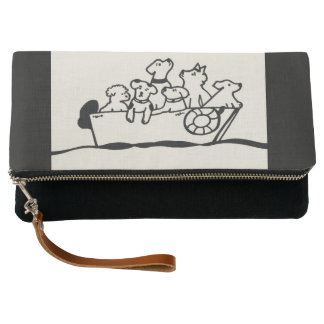 """Dogs on Boat"" Clutch by Willowcatdesigns"