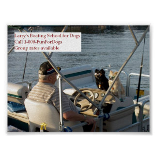 Dogs on boat poster