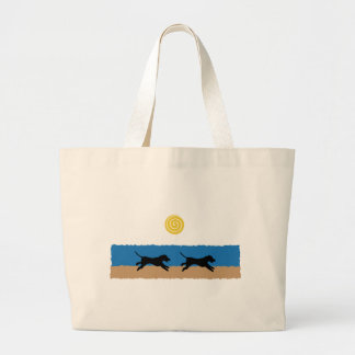 Dogs on the Beach Large Tote Bag