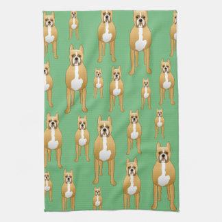 Dogs Pattern, Boxers on Green. Kitchen Towel