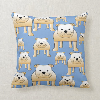 Dogs Pattern. Fawn Bulldogs on Blue. Throw Pillow