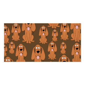 Dogs Pattern Hounds on Brown Picture Card
