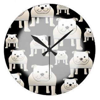 Dogs Pattern. White Bulldogs on Black. Clock