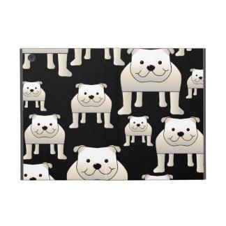 Dogs Pattern. White Bulldogs on Black. iPad Mini Case