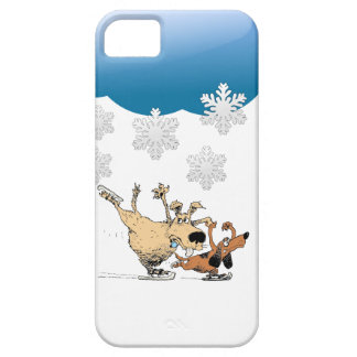 Dogs Playing And Ice Skating -Design On Iphones Case For The iPhone 5