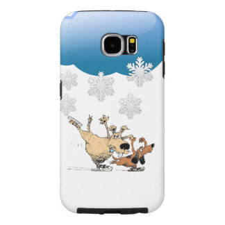 Dogs Playing And Ice Skating -Design On Iphones Samsung Galaxy S6 Cases